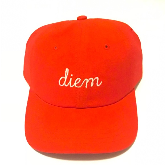 DIEM Red Men s Dad Hat With White Writing e948bba316f